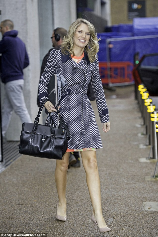 Glowing: Pregnant Charlotte Hawkins looked the picture of health as she left the ITV studios on Tuesday morning
