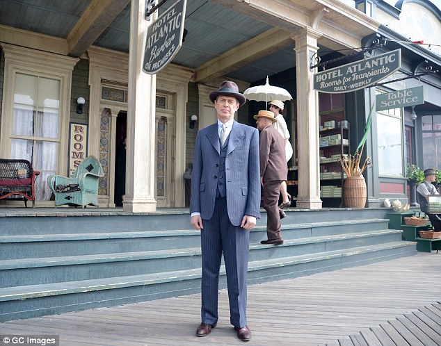 Hotel Atlantic: Steve looked dapper in a three piece suit, hat and tie on the set of the show in Far Rockaway, New York