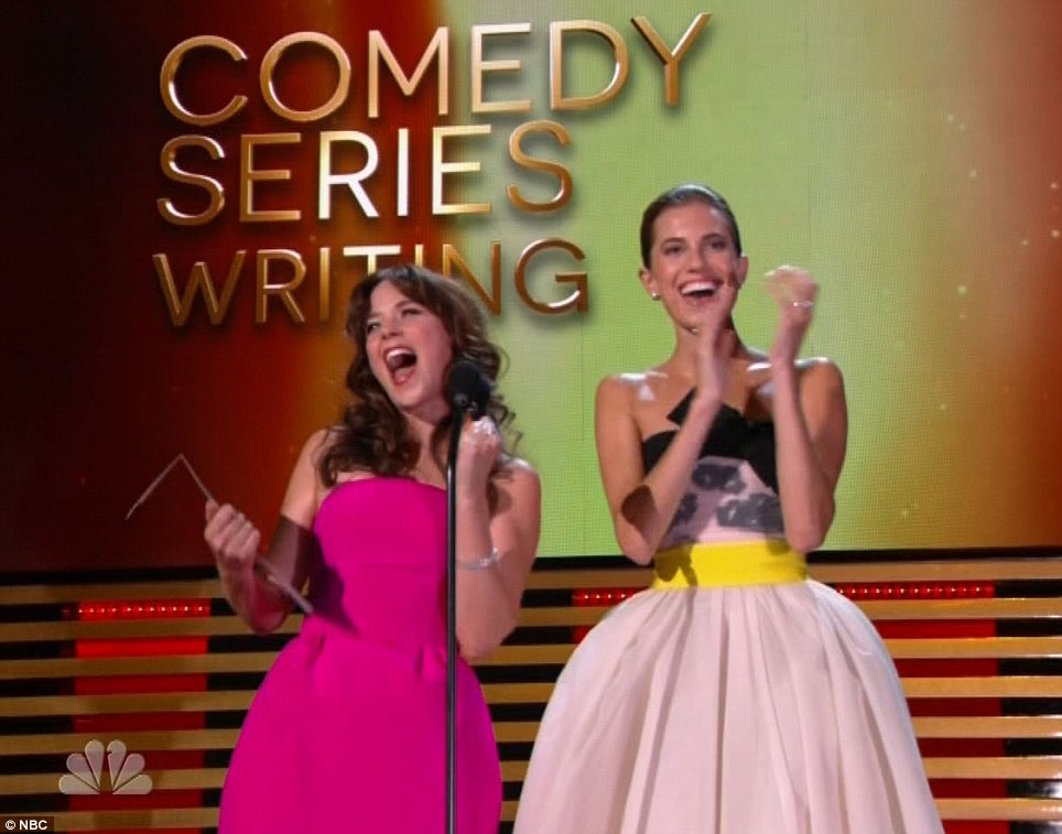 Handing them out: Zoe Deschanel celebrated comedy writers