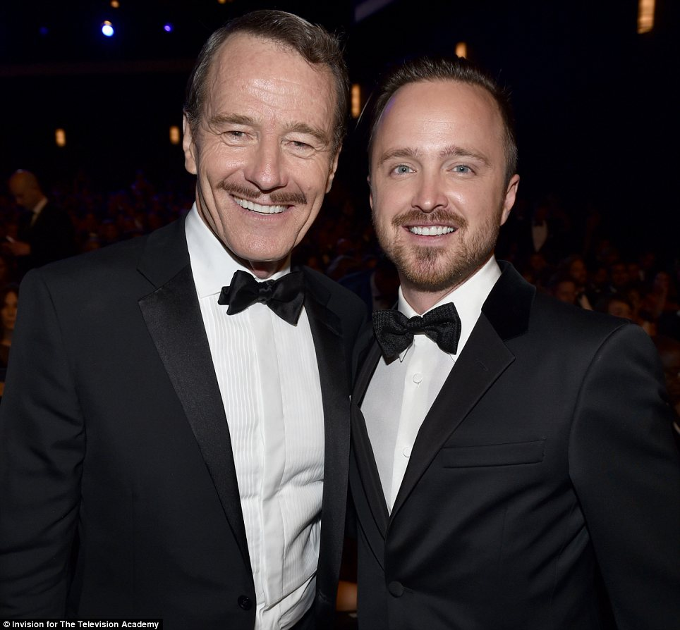 Winners: Bryan Cranston and Aaron Paul brought a fitting end to their Breaking Bad saga with two wins on Monday night at the Emmys
