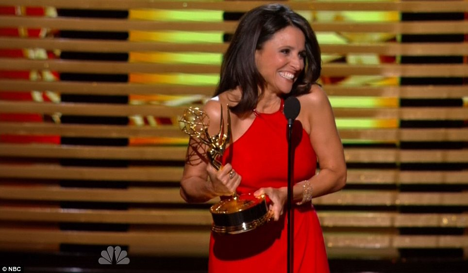 Big winner: Julia Louis-Dreyfus accepted her fifth career Emmy on Monday night
