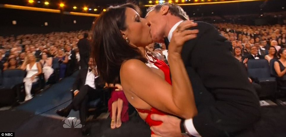 Celebratory kiss: Dreyfus received a smooch from her Seinfeld co-star Bryan Cranston