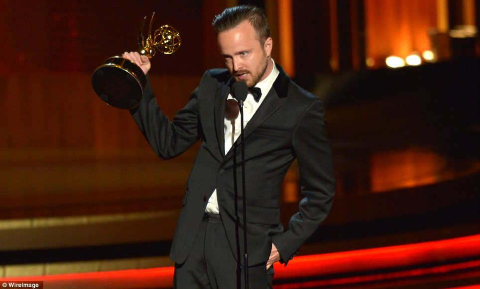 Always in style: Aaron Paul thanked his fellow nominees upon accepting the gong for Best Supporting Actor