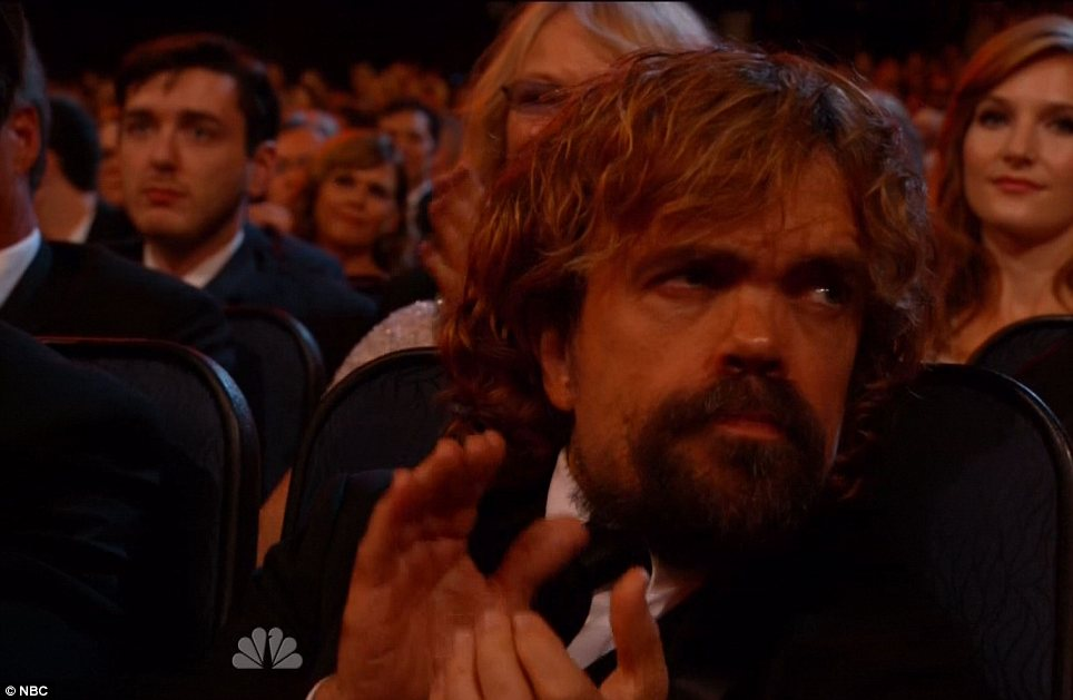 Bearded: Peter Dinklage cheered on Aaron Paul who swiped the award for Best Supporting Actress