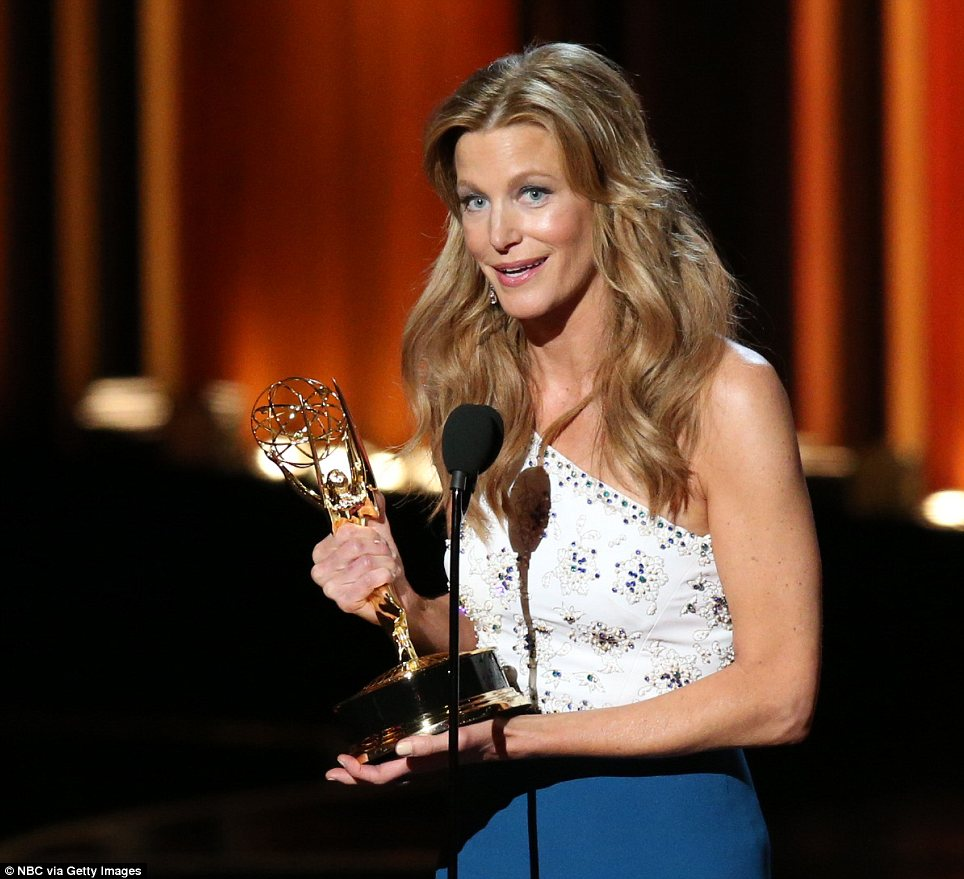 Final farewell: Anna Gunn accepted a gong for best supporting actress in a drama series