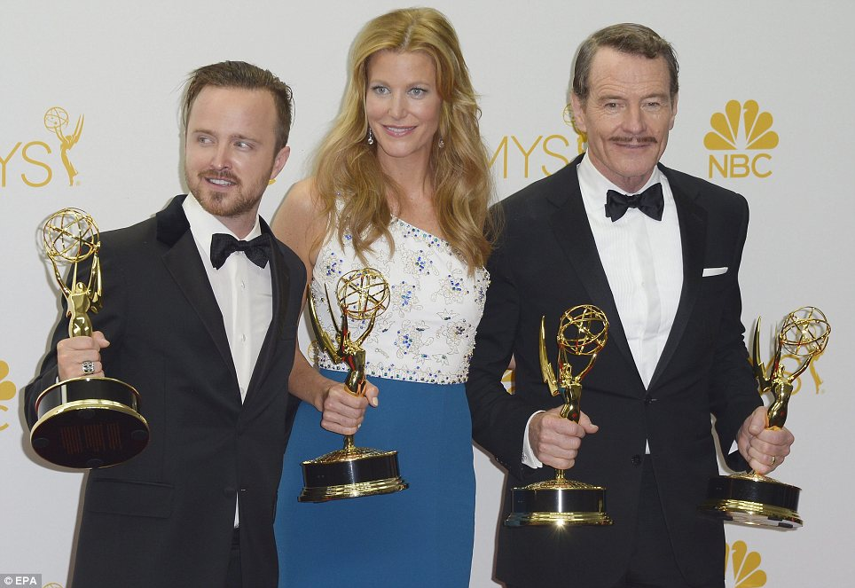 Cream of the crop: It was Breaking Bad's night at the Emmys on Monday as Bryan Cranston, Aaron Paul, and Anna Gunn all won in their categories as the series itself nabbed the gong for Best Drama Series