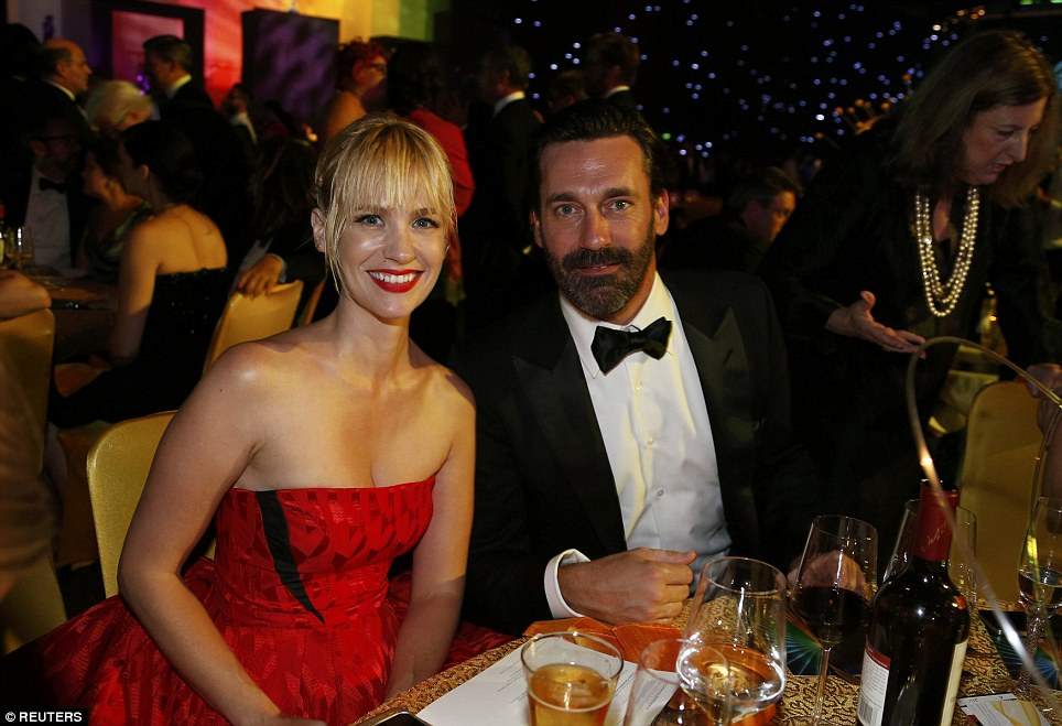 Nothing mad about them: Mad Men star Jon Hamm was at the star-studded Governors Ball after party sat alongside his beautiful co-star, January Jones