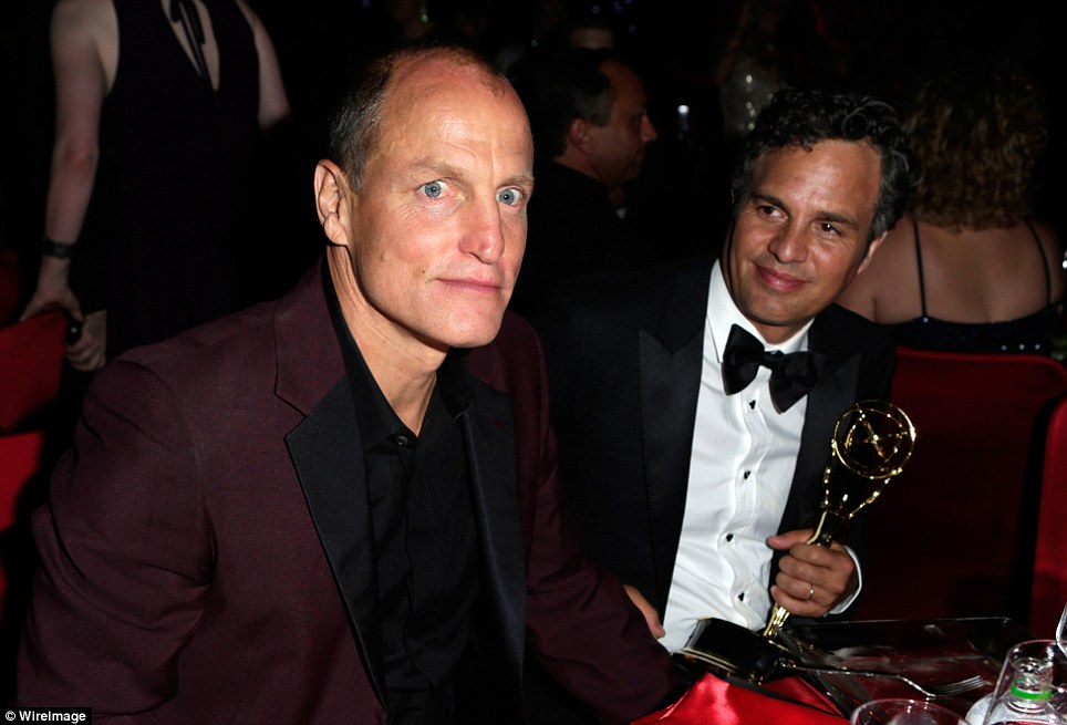 In good company: Actor Mark Ruffalo was seen with his friend, Woody Harrelson, as they enjoyed the bash