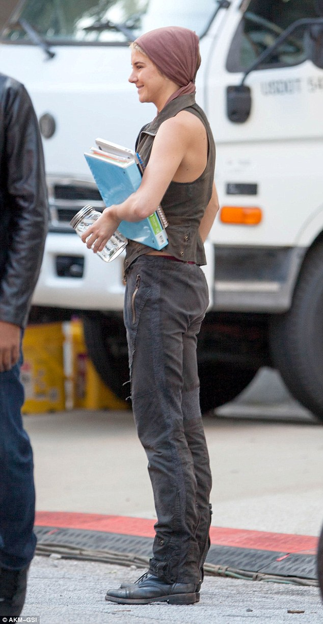 New hair: Shailene has opted to keep her short pixie cut for the film and won't be wearing a wig