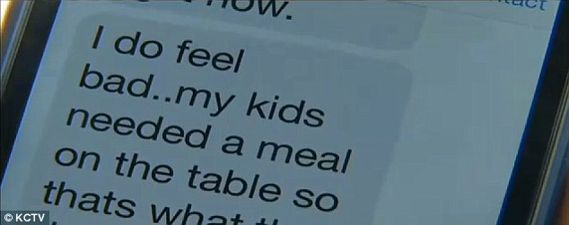 'I do feel bad:' The thief eventually replied to Bratten's messages, saying, 'My kids needed a meal on the table so that's what their dad did got them food. I know its wrong but it's been so hard since I lost my job'