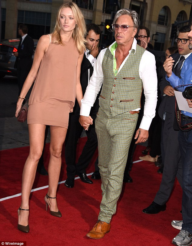 Where's your friend? Not present at dinner was Anastassija Makarenko, who Mickey took as his date at the Sin City 2 premiere last week