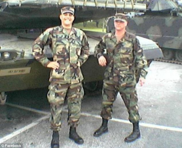 Veteran: Vacca, a staff sergeant, is pictured right with his best friend Robert Vera when they served