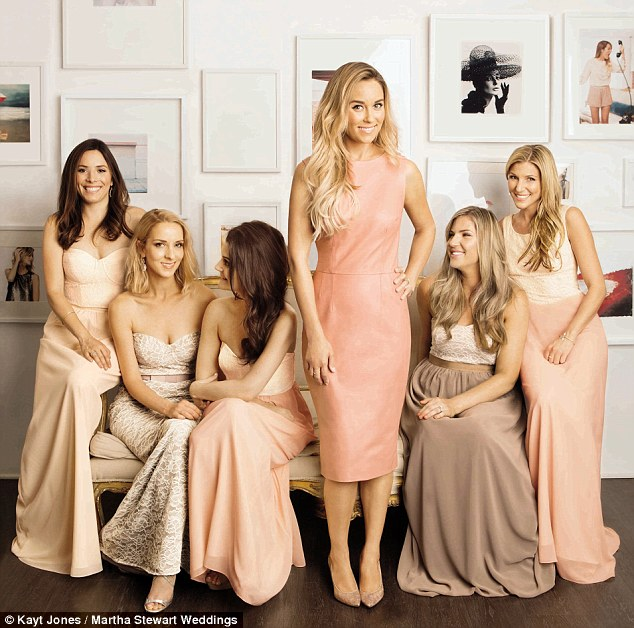 Wedding belles: On the cover of Martha Stewart Weddings' fall issue, Lauren Conrad debuts the dresses she designed for her bridesmaids to wear. Pictured: The star with five of her nine bridesmaids