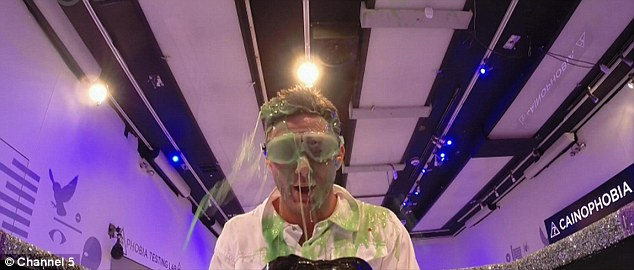 In your face: Ricci was splattered with green slime