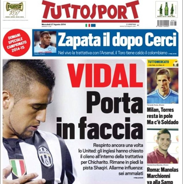 Press: Tuttosport report that although Juventus do not want to let him go to United, Vidal talks are ongoing