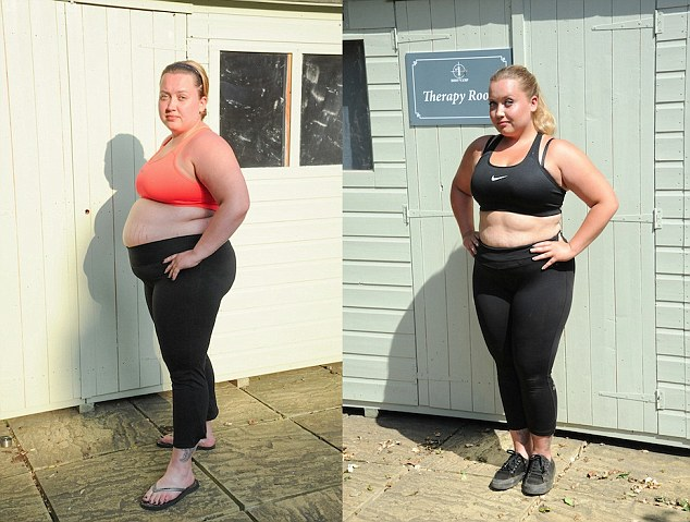 Before and after:Shelly Bannister, pictured on arrival at boot camp, left, and at the end of her seven-week stint, right, lost 14in off her waist, 7in off her hips and slimmed down from 16st 5lbs to just over 13st by following a gruelling diet and fitness regime for seven weeks