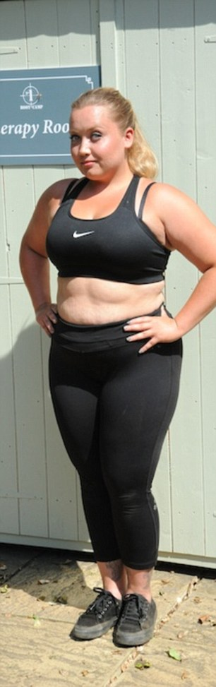 Record time: Shelly Bannister after her weight loss - just seven weeks later