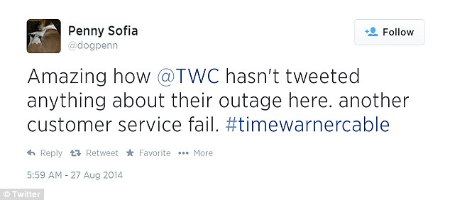 Angry customers: Time Warner Cable customers took to Twitter to vent their displeasure