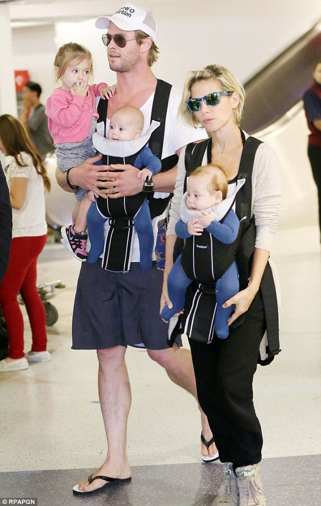Party of five: The family was seen arriving to the Los Angeles airport on Monday following a trip to Mexico