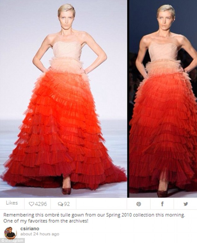 Meow: Mr Siriano posted this to his Instagram the following day, triggering fans to note its similarity to the  Giambattista Valli gown worn by Miss Dunham on Monday