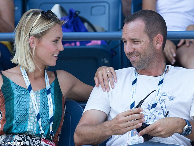 That's a sparkler:Sergio Garcia has sparked rumours that he is engaged after his girlfriend was spotted wearing a diamond ring at the US Open