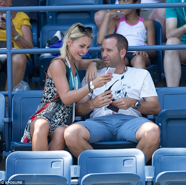 Loved up: The couple were seen enjoying the tennis on Day 3 of the tournament in New York