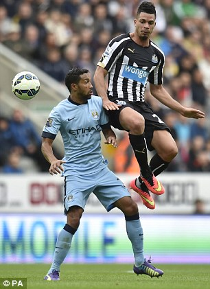 Emmanuel Riviere (right) has failed to find the net since his £6million move to St. James' Park