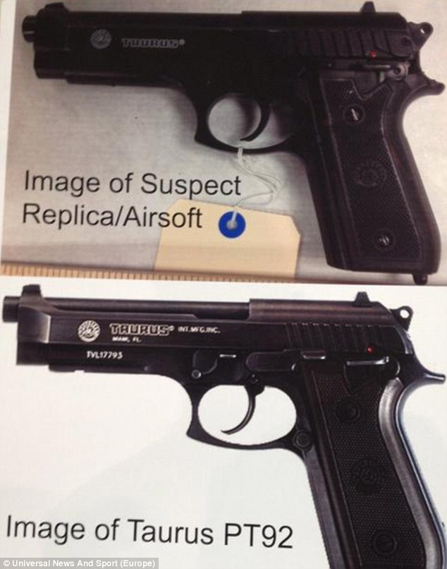 Similarities: Police released an image comparing the pellet gun they found to a Taurus PT92 pistol