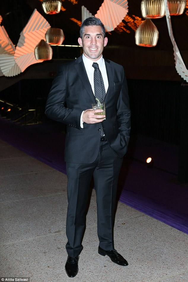 Smart: Braith Anasta also joined the dinner party looking classy in a suit and shiny black shoes