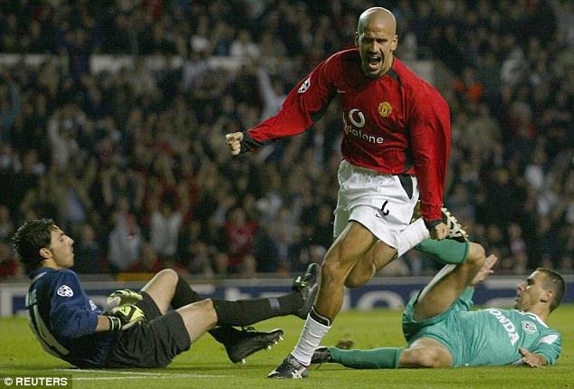 High point: There were glimpses of Veron's class at United, such as this goal in the Champions League against Maccabi Haifa in 2002, but overall his time in Manchester was a disappointment