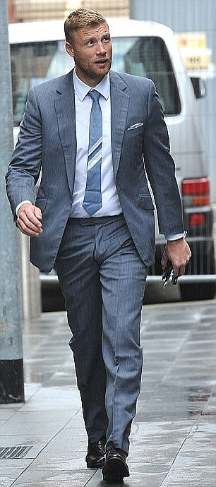 Andrew 'Freddie' Flintoff, 36, pictured at a separate speeding hearing in June, escaped a driving ban after being caught doing 87mph on a motorway