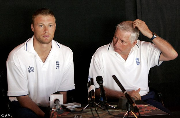 Flintoff at a press conference in St Lucia with coach Duncan Fletcher the day after the 'Fredalo' incident