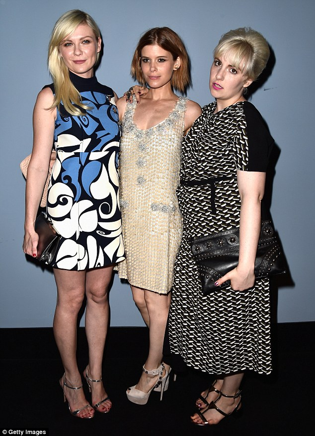 Correcting her wrongs: Lena (R) corrected her Emmys error on Thursday as she attended the official screening of Miu Miu Women's Tales #7 #8 with Kirsten Dunst (L) and Kate Mara
