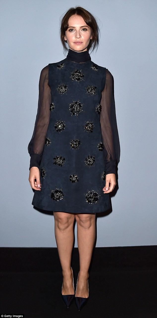 Sultry... English actress Felicity Jones stunned in a sequinned midnight blue ensemble