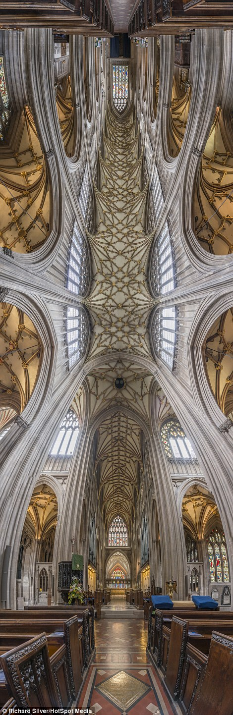 The final vertical panorama of the interior of St Mary Redcliffe Parish Church in Bristol
