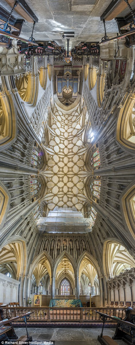 Richard Silver, who is originally from New York, has spent the last two years taking photographs inside churches and cathedrals in England. Pictured: Wells Cathedral