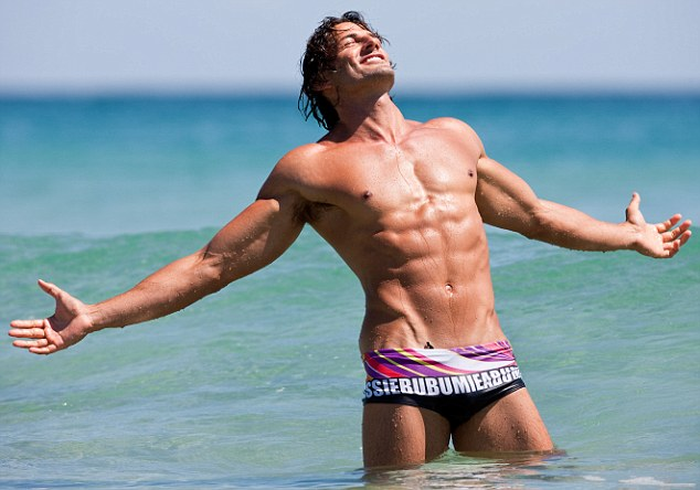 Back in the day! Tim showing off his body in a shoot for Aussie Bum before findsing fame on The Bachelor