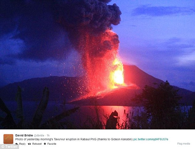 The plume from the volcano has reached a height of 18km