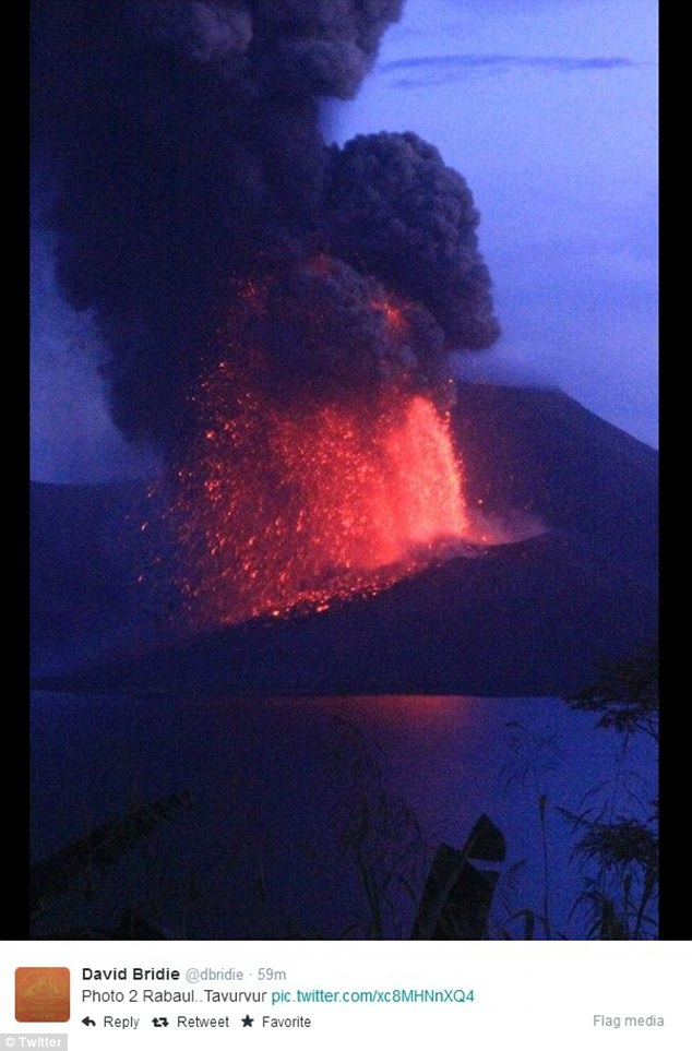 Residents could be forced to flee Rabaul as the ash falls over the burnt-out town