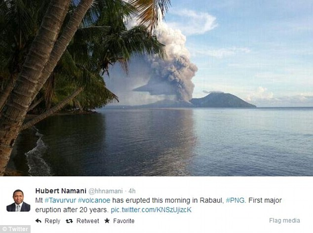 Tweets from various residents on East Britain Island show the ferocity of the volcano spewing in to the air