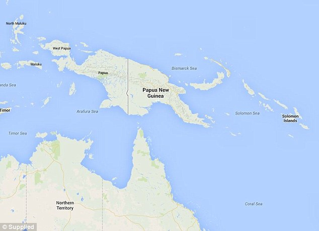 The volcano erupted on New Britain Island north east of the PNG mainland