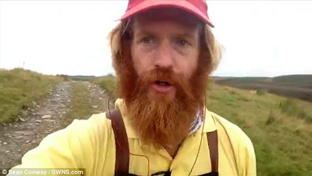Sean Conway, 33, was attempting to run the length of the UK between John O'Groats and Land's End when he tripped over a rock and twisted his ankle while attempting to record a video selfie in the Loch Ness area