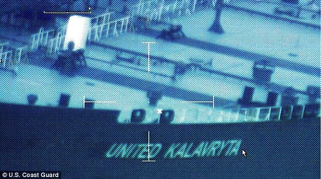 A still image from video taken by a U.S. Coast Guard HC-144 Ocean Sentry aircraft shows the oil tanker United Kalavyrta sitting in the Gulf of Mexico. It reappeared on radar on Monday