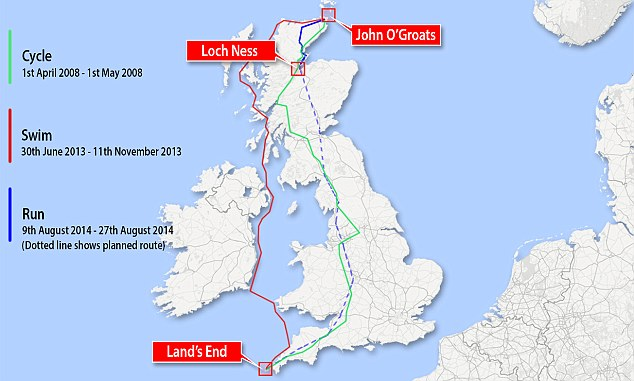 Mr Conway was set to become the first person to swim, cycle and run the length of the UK. However, after completing the swim and cycle stages of his triathlon, he failed at the final hurfle by injuring himself on the run