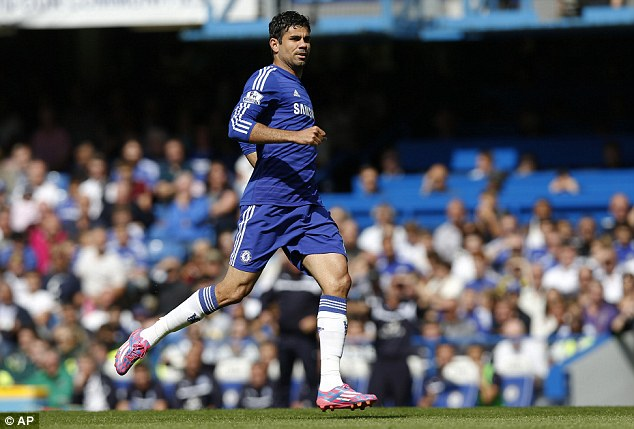 Ground to a halt: Diego Costa's good start to the season for Chelsea has taken a setback due to a muscle injury