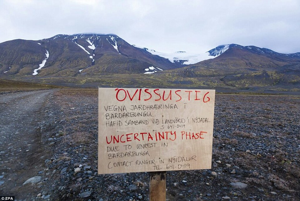 Warning: A sign telling visitors that the road to the Vattnajokull glacier, the site of the Bardarbunga volcano, is closed amid fears of a major eruption