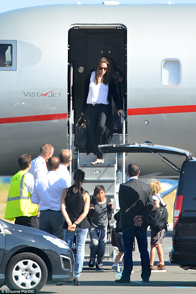 The whole family: Brad and Angelina's six children travelled with their parents to France on a private jet before the couple tied the knot on Saturday