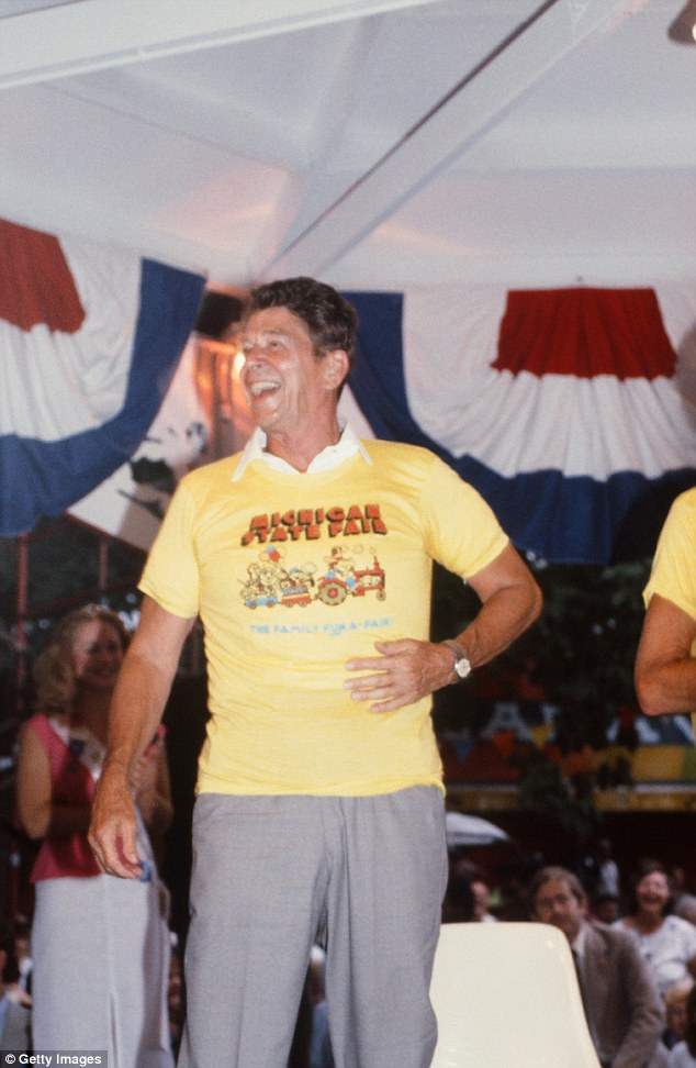 Stylin': During his presidential campaign, but before he was elected into office, Reagan giggles up a storm as he dons a nice-and-tight Michigan State Fair T-shirt, worn over a white polo shirt of course