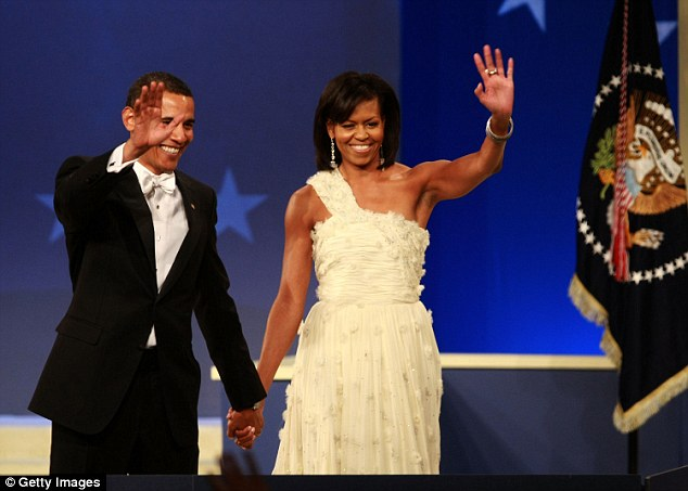 Welcome: Obama makes his presidential debut, and sets a fashion faux pas precedent, by mixing black-tie with white-tie