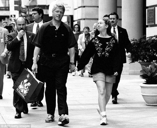 Ankle-flappers: Clinton takes daughter Chelsea shopping. Hopefully for some new pants